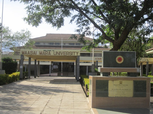 Main entrance of Maasai Mara University with the student library in the background.