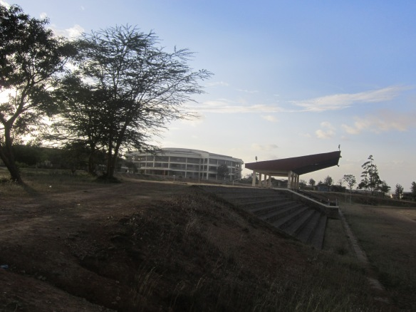View from the sports centre towards the main lecture complex.